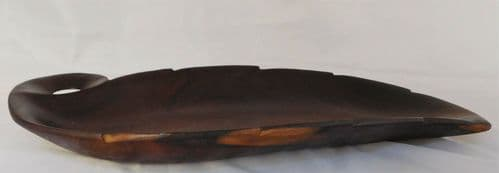 Vintage wooden leaf bowl for serving bread or fruit 17x7.5
